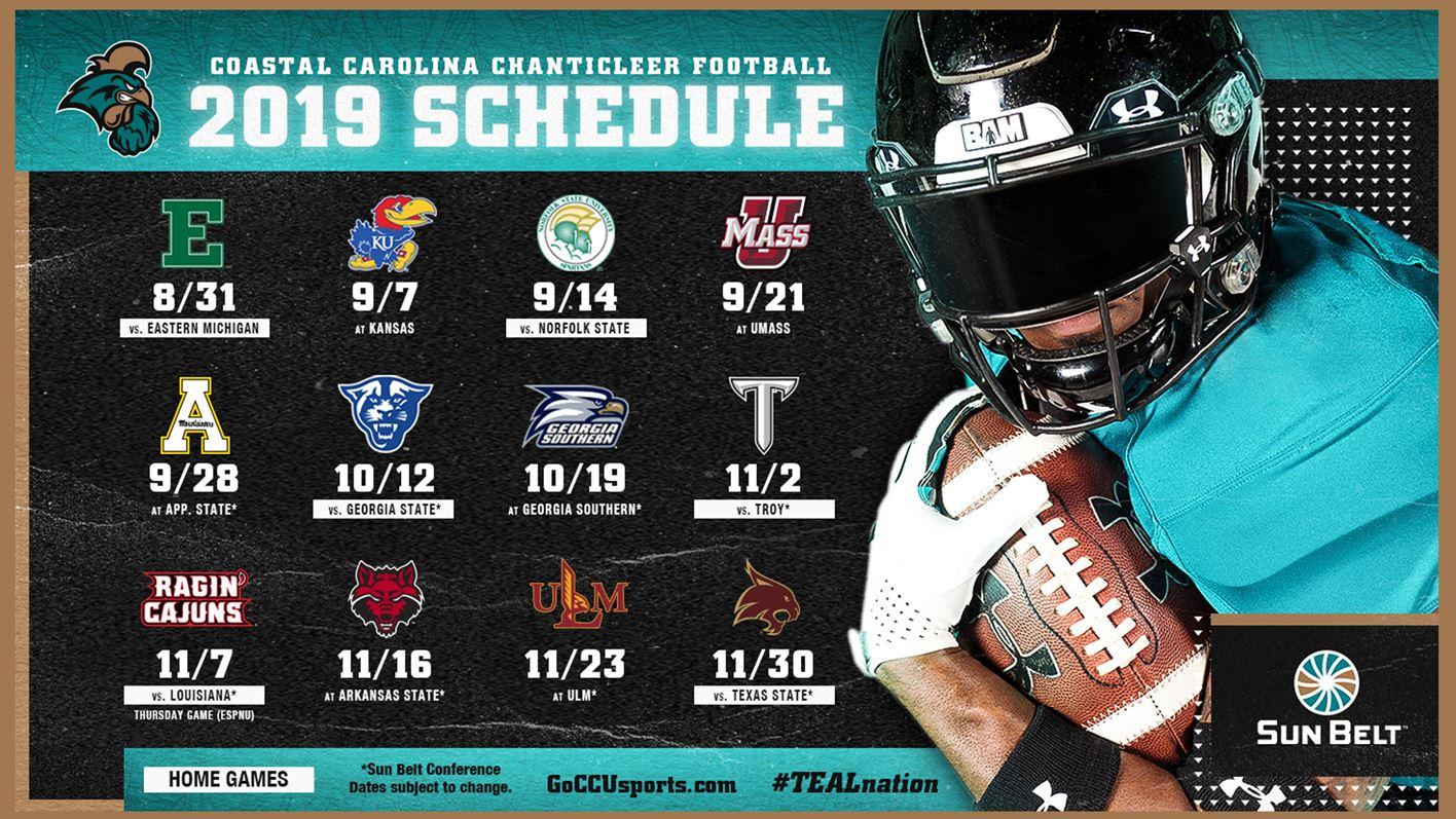 Coastal Carolina Football Releases 2019 Schedule