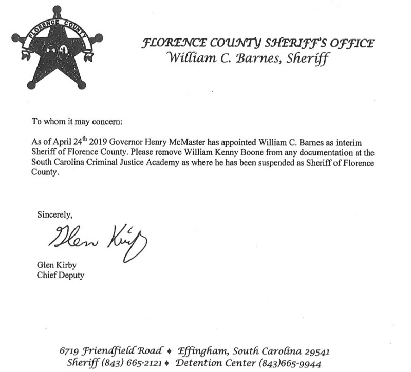 Suspended Florence Sheriff Kenney Boone to be removed from state