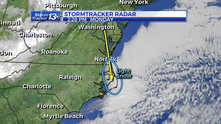 Light snow fell in parts of the North Carolina Outer Banks Monday 2