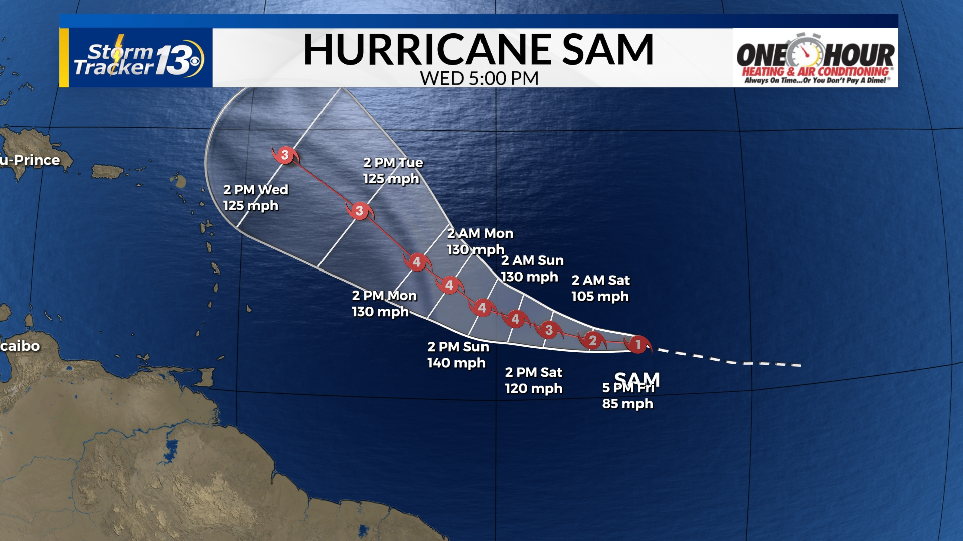 Hurricane Sam: Storm expected to become major hurricane soon, no threat to land